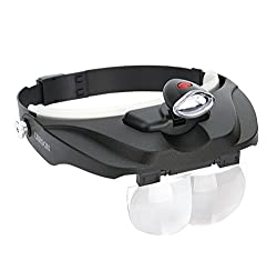 Carson Optical Pro Series Magnivisor Deluxe Head-worn Led Lighted Magnifier With 4 Different Lenses (1.5x, 2x, 2.5x, 3x) (Cp-60)