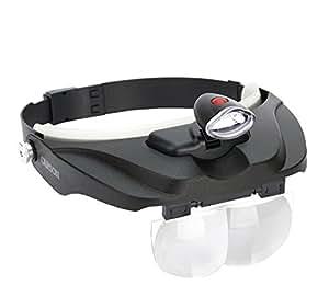 Carson CP-60 - Lupa para la cabeza con Iluminación LED y 4 lentes intercambiables, color negro