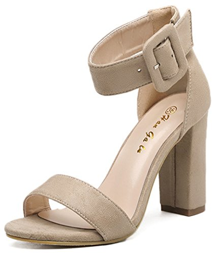 Aisun Heel High Strap Open apricot Elegant Women's Sandals Ankle Toe Dressy Buckled Chunky rxwfAqBrz