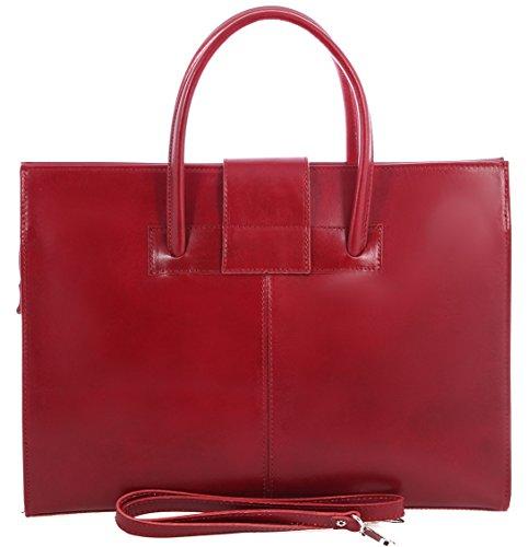 main sac cartable Rouge sac cuir l'épaule à véritable in Made Femme portefeuilles 100 et Italy 4q0wdx
