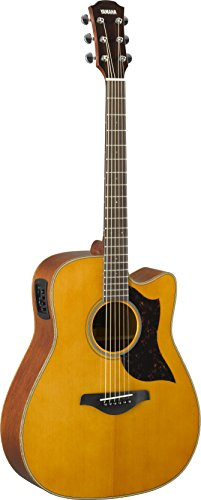 - Yamaha 6 String Series A1M Cutaway Acoustic-Electric Guitar-Mahogany, Vintage Natural, Dreadnought VN