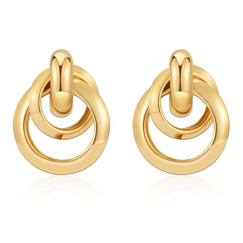 CHANBO 14k Gold Hoop Earrings 2021 Small Geometric Chunky Thick Hoop Earrings for Women Birthday/Party/Friendship Gifts