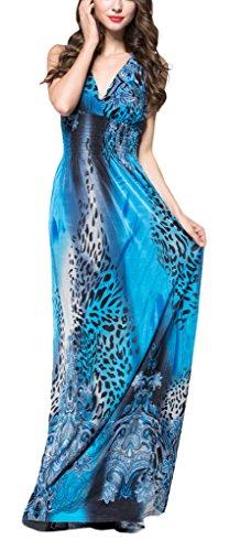 Wantdo Women's Casual V Neck Printed Summer Maxi Dresses Plus size, Blue, 22 Plus