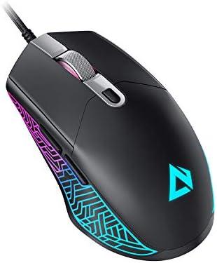 AUKEY Scarab Mouse Gaming [Leggero 75g] Sensore Ottico da 7200 DPI, Mouse da Gioco con Cavo Mouse da Gioco Filo RGB con 6 Pulsanti Programmabili, Funzioni di Rimappatura e Macro (Nero)