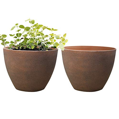 Flower Pot Outdoor Planters,Indoor Garden Plant Container Terracotta Color Resin Planter (11.3 inches Pack 2) (Fiberglass Pots Flower)