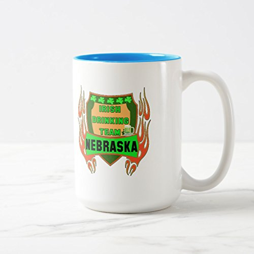 Zazzle Nebraska Irish Drinking Team T-shirts Gifts Travel Mug, Light Blue Two-Tone Mug 15 oz (Drinking T-shirt Team Light)