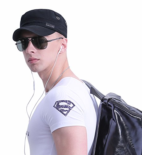 fb12cde4bbb CACUSS Men s Cotton Army Cap Cadet Hat Military Flat Top Adjustable  Baseball Cap(Black)
