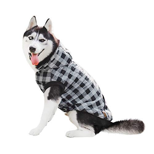 PAWZ Road Dog Plaid Shirt Coat Hoodie Pet Winter Clothes Warm and Soft for Medium and Large Dogs,Upgrade Version Gray S ()