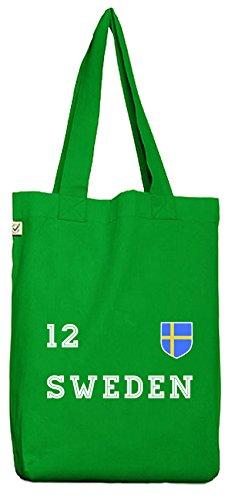 Sverige Sweden Fußball WM Fanfest Gruppen Bio Baumwoll Jutebeutel Stoffbeutel Trikot Schweden Kelly Green