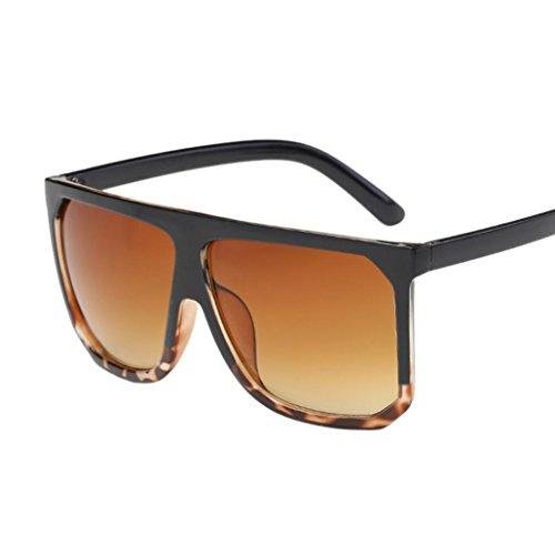 (Ecurson Women Men Vintage Retro Square Frame Glasses Unisex Fashion Aviator Sunglasses (A))