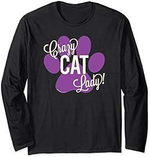 Crazy Cat Lady! Purple Paw Print Cute Funny Cat Mom Long Sleeve T-shirt   Size S - 5XL