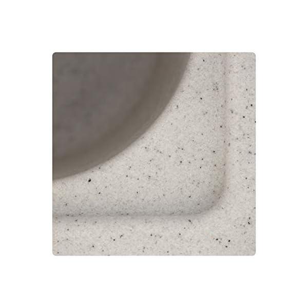 ZINZER Granite/Quartz Kitchen Sink - Single Bowl Drainboard (36 x 18 x 8 inch, Granular Grey Color)