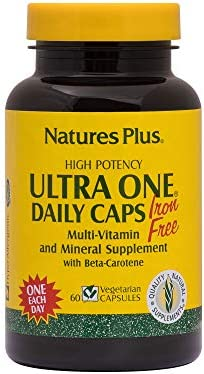 NaturesPlus Ultra One Iron Free – 90 Easy to Swallow Capsules – High Potency Once Daily Multivitamin Mineral Supplement – Natural Energy – Vegetarian, Gluten-Free – 90 Servings