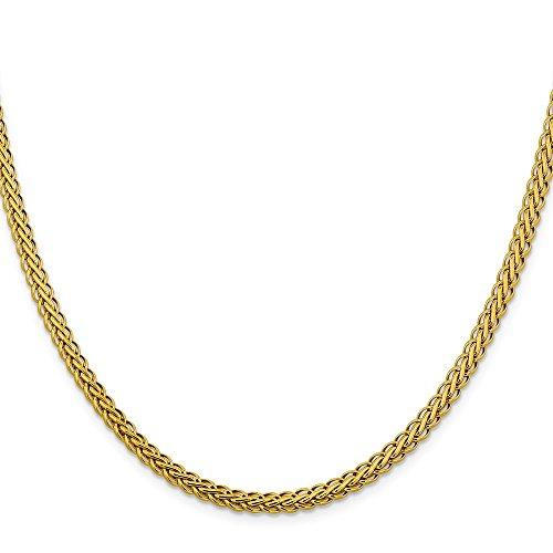 14k Bracelet Oval Charm (Jewelry Adviser Bracelets 14k 4.65mm Semi-solid Oval Wheat Chain Length 18