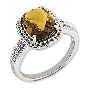 Sterling Silver Whiskey Quartz Ring - Size 7 - JewelryWeb