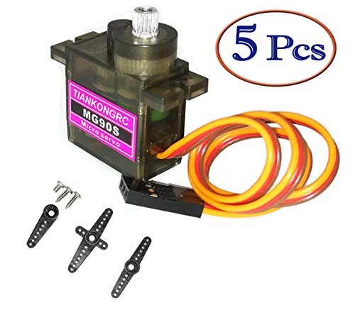 MakerDoIt 5pcs MG90S Servo, Micro Servo 2kg·cm in 4.8V Angle 90° Each Direction, for RC Car Helicopter Arduino Raspberry Pi Project