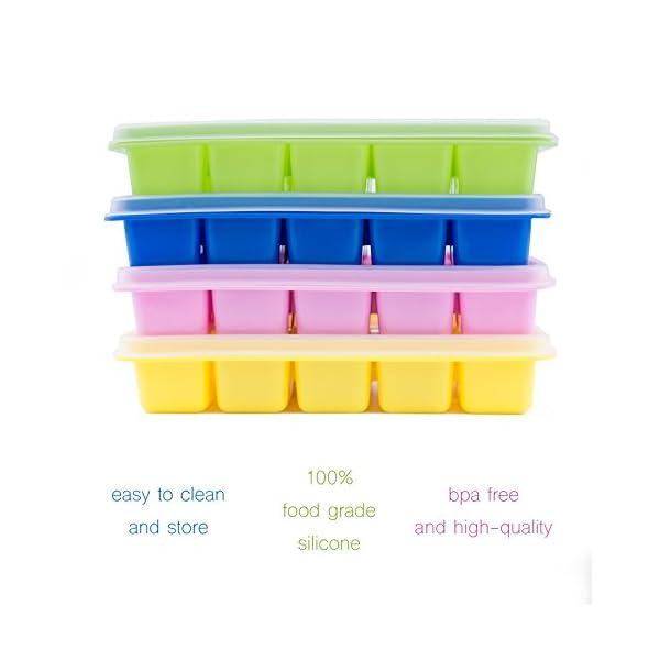 Beicemania - Vaschetta per cubetti di ghiaccio in silicone, con coperchio, 17,5 x 11,3 x 3 cm, multicolore, 4 pezzi 2 spesavip