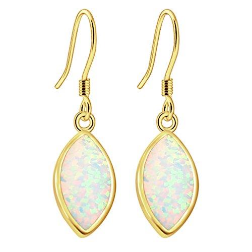 - Australian Fire Opal Water Drop Hook Earrings for Women, Birthstone Jewelry Birthday Gifts (Yellow Gold White)