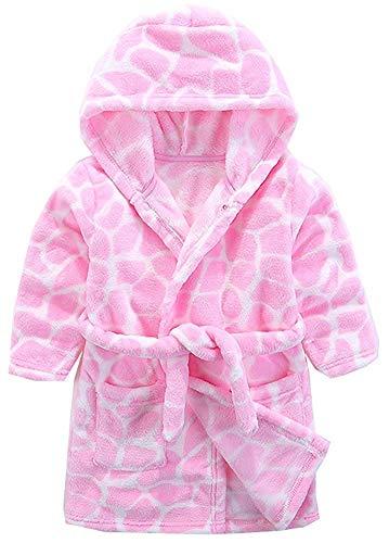 Girls' Robe, Cute Cow Print Warm Flannel Fleece Hoodie Bathrobe Robe for Toddler & Little Girls