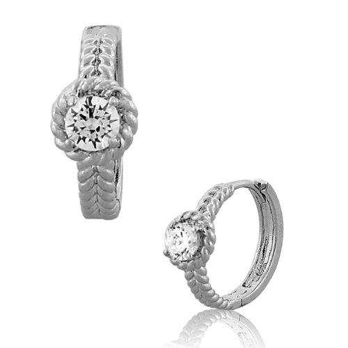925-Sterling-Silver-Solitaire-White-CrystalCZ-Womens-Hoop-Huggie-Earrings