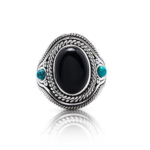Black Onyx Vintage Ring Synthetic Turquoise Stones Sides 925 Sterling Silver Boho Chic US 7 8 9 (7) (Onyx Silver Turquoise)