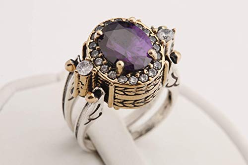 Turkish Handmade Jewelry Reversible Oval Cut Amethyst Topaz 925 Sterling Silver Ladies Ring All Size
