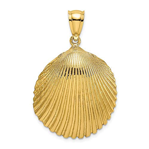 - 14k Yellow Gold 2 D Textured Scallop Sea Shell Mermaid Nautical Jewelry Pendant Charm Necklace Shore Fine Jewelry Gifts For Women For Her