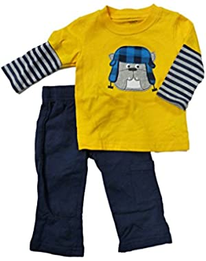 Carters Infant Boys 2 Piece Outfit Mock Layered Bulldog Yellow T-Shirt Pants