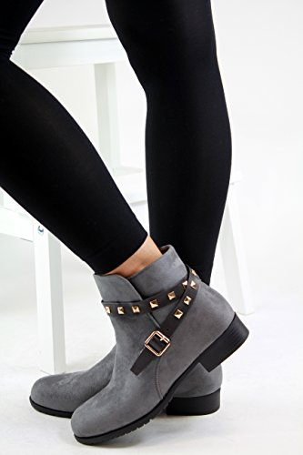 New Womens Ladies Flat Ankle Boots Buckle Studded Casual Zip Casual Shoes Grey TXcxMadChI
