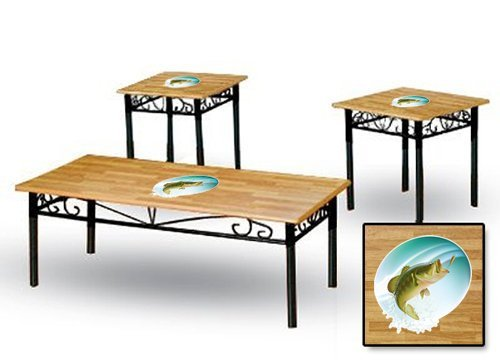 New 3 Piece Natural Finish Coffee & End Tables Set with Bass (Parquet Occasional Table)