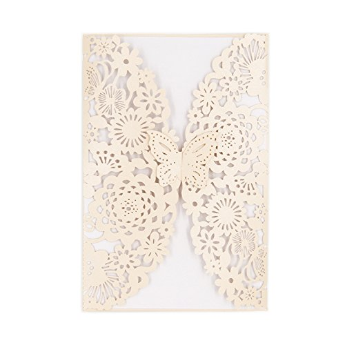 Ivory Wedding Card - BingGoGo 30x Pearl Paper Laser Cut Invitations , For Baby Shower, Wedding, Mother's Day ,Brides Bridal Shower, Graduation Celebration, Birthday, Party Invitation,Thank You Cards (Ivory)