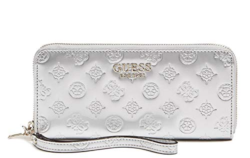 GUESS Peony Shine Large Zip Around Wallet, Silver ()