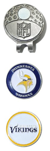 Minnesota Cap Vikings Set - Team Golf NFL Minnesota Vikings Golf Cap Clip with 2 Removable Double-Sided Enamel Magnetic Ball Markers, Attaches Easily to Hats