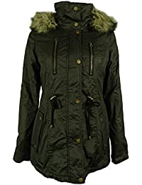 Women's Faux Fur Trim Hooded Parka Coat