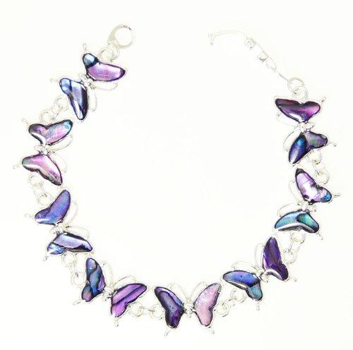 Purple Abalone Shell - Beautiful Purple Abalone Paua Shell Butterfly Silver Colour Bracelet In Gift Box - D