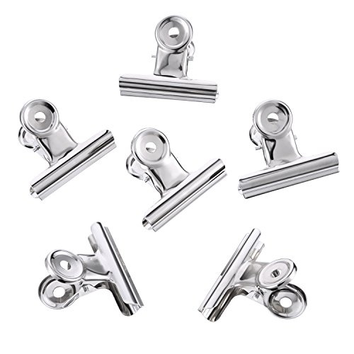 TecUnite 30 Pack Metal Hinge Clips, 2 inch Silver Chip Clip Hinge Clamp File Binder Clips for Home Office Supplies by TecUnite (Image #3)