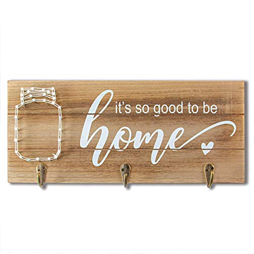 VILIGHT Vilght Home Sign Wall Decor Key Holder - Rustic Housewarming Gifts with String Art Mason Jar Decorations with Hooks - 12.6x5.5 Inches