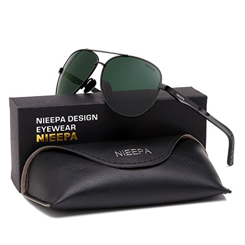 NIEEPA Aviator Polarized Sunglasses Mens Al-Mg Metal Ultra Light Frame Driving Glasses (Dark Green Lens/Black - Green Lenses Light