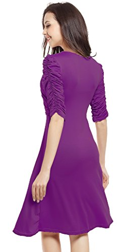 Vídeo de las mujeres V cuello plisado elegante negocios de cóctel vestido de Swing morado