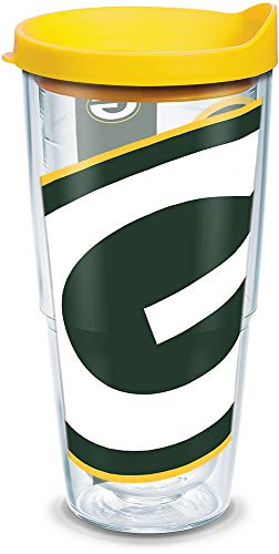 Tervis 1085183 NFL Green Bay Packers Colossal Tumbler with Wrap and Yellow Lid 24oz, Clear -
