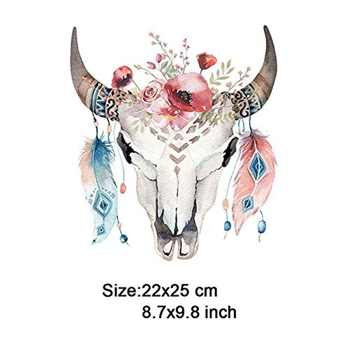 Max Corner Bull Skull Feather Iron On Patch,Lion Unicorn Deer Fox Flower Patch Heat Transfer Or Sew for Cloth Embroidery DIY (2) -