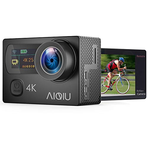 AIQiu 4K WiFi Action Camera Dual Screen Waterproof Camcorder Sports Camera Ultra HD 12MP 170 Degree Wide Angle/ 2 Rechargeable 1350mAh Batteries/ 2.4G Wireless Remote Control/ 22 Mounting Kits (Best Drifting Games For Iphone)