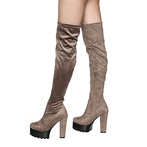 Over Snug Fit Thigh Heel Chunky Stretchy Knee Women's Taupe EL38 BESTON High The Boots 1wtq00
