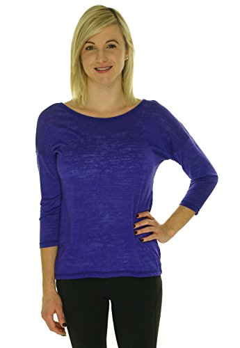 Ideology Three-Quarter-Sleeve Burnout Cutout Back T-Shirt Top (Medium, Blazing Purple)
