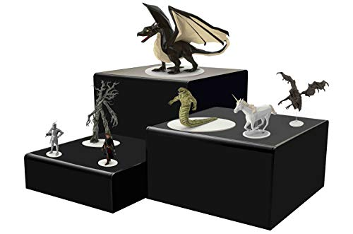 Marketing Holders Cube Display Nesting Risers Showcase Collectables Pedestald for Trinkets Figurines Trophy Dolls Hollow Bottoms Acrylic Black Pack of 3 by Marketing Holders (Image #6)