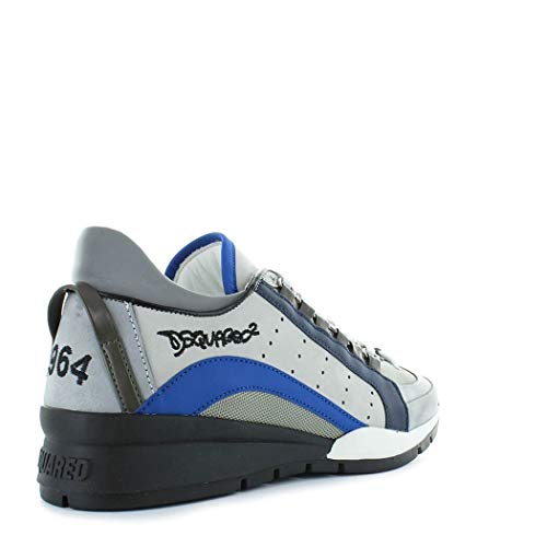 Dsquared2 Hombre Snm040413030001m1477 Blanco/Azul Cuero Zapatos: Amazon.es: Zapatos y complementos