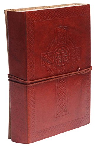 SouvNear Celtic Cross Journal 7x5 Inch Vintage Leather Writing Journal Diary - Unlined Handmade Blank 200 Pages Notebook - Embossed Christian Catholic Travel Diary for Men Women