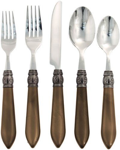 Brown Flatware (Hampton Forge Argent Sophia 20-Piece Flatware Set, Chocolate, AFU71620QG)