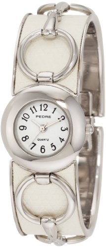 Pedre Women's 3313SX Silver-Tone with White Horse Bit Bangle Watch