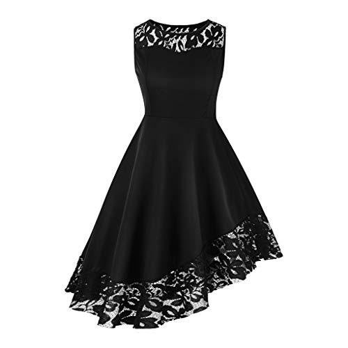 CCatyam Plus Size Dresses for Women, Skirt Off Shoulder Solid Lace Asymmetrical Vintage Party Fashion Black